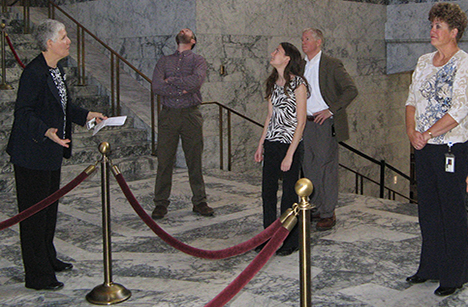 A tour group in the Capitol Building