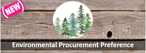 Logo for Environmental Procurement Preference showing green trees