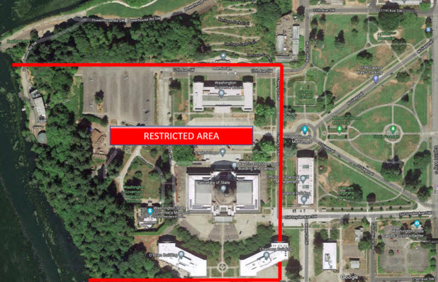 Restricted access on Capitol Campus January 2021