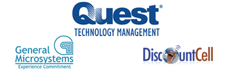 Image of Quest Technology Management logo, General Microsystems logo, and DiscountCell logo.