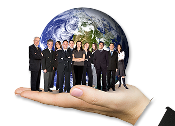 Picture of a crowd of business people standing in front of the Earth ready to help