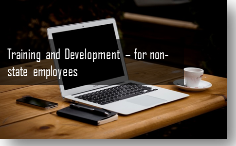 picture of laptop with caption; training and development for non-state employees