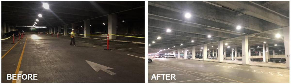 Plaza Garage lighting before and after