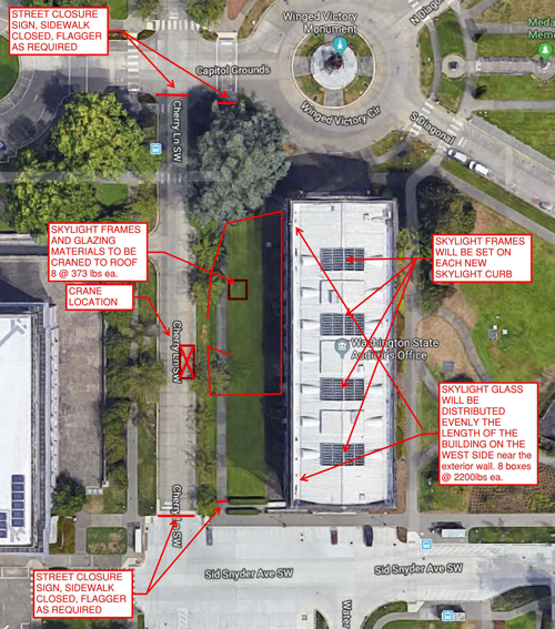 An overhead image showing the locations of work occurring during the week of Sept. 23.