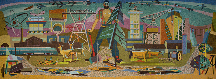 Glass and Stone Mosaic Mural by Jean Cory Beall, 1959