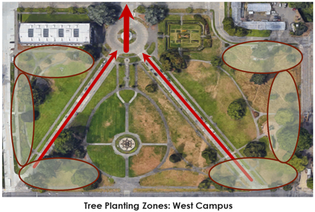 West Campus planting locations with ovals