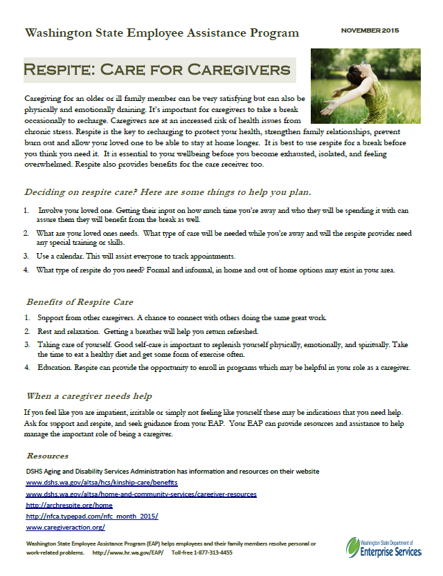 Respite: Care for Caregivers tip sheet thumbnail image