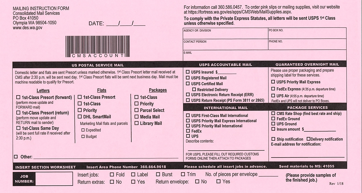 How To Use The Mailing Instruction Form Or Pink Slip  Department